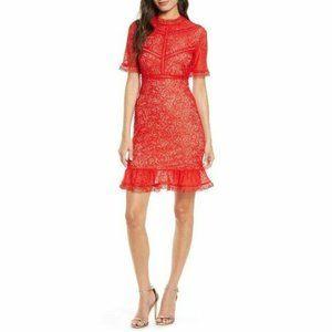 Bardot Fire Red Theodora Lace Sheath Mini Dress Size 6 (Small)